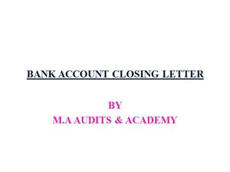 bank current account cancellation letter bank account closing letter