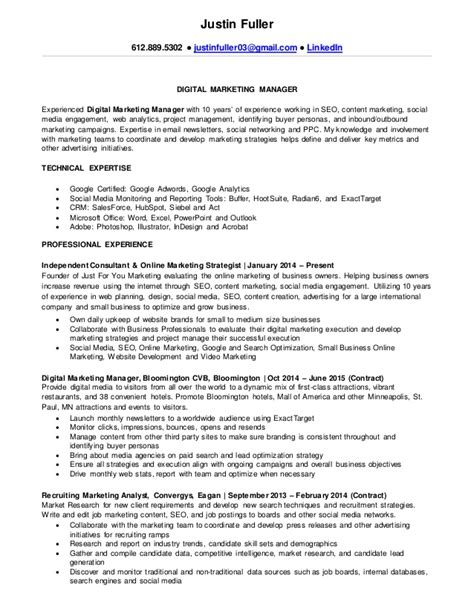 marketing specialist resume sle sle resume for digital marketing manager 57 images 23