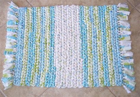 crocheted rag rug rectangle with fringe vintage