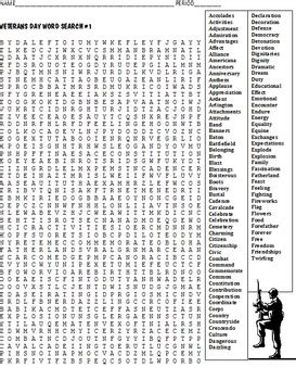 Two Search Two Veterans Day Word Search Puzzles Free By Coats