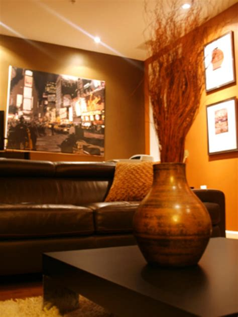 brown and orange living room photo page hgtv