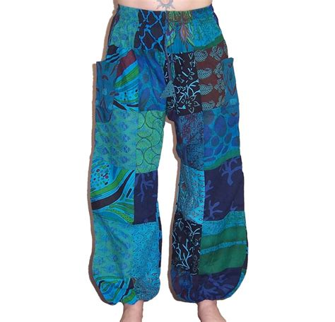 Patchwork Trousers - patchwork harem trousers