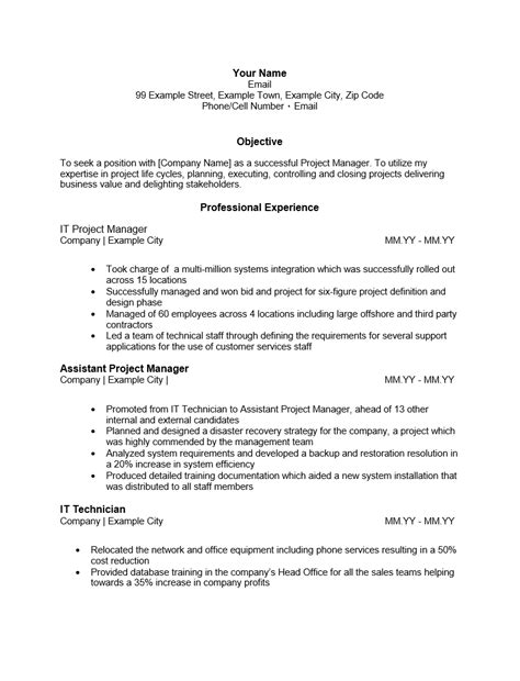 text resume template free it project manager resume template sle ms word