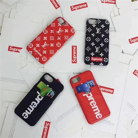 Iphone Casing Lv Supreme White 6 7 8 X supreme lv cardslot white phone back cover for iphone 8 8plus 7 7plus pc 01 china