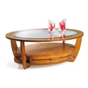 table basse ovale merisier plateau verre tiroir va et
