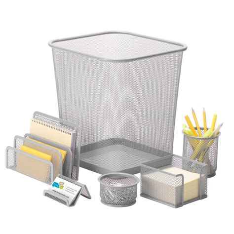 Silver Mesh Desk Accessories Honey Can Do 6 Steel Mesh Desk Set In Silver Ofc 06206 The Home Depot