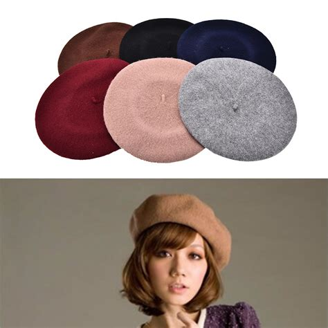 plain beret hat beret winter autumn