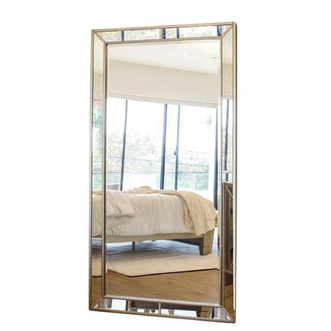 inspire q omni beveled mirrored frame rectangular floor mirror