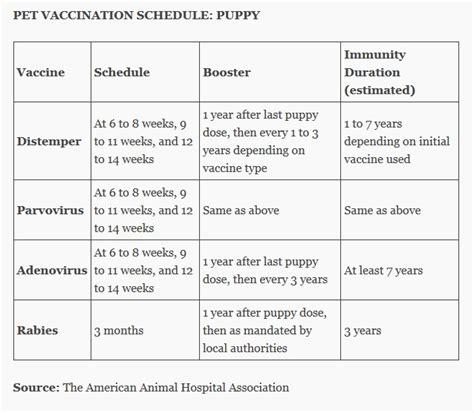 puppy vaccination schedule puppy vaccines schedule charts vertola