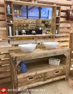 meuble de salle de bain et miroir avec palettesmeuble en