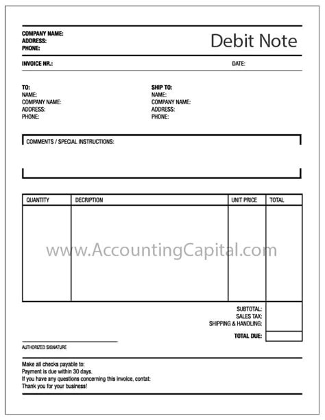 debit note choice image download cv letter and format