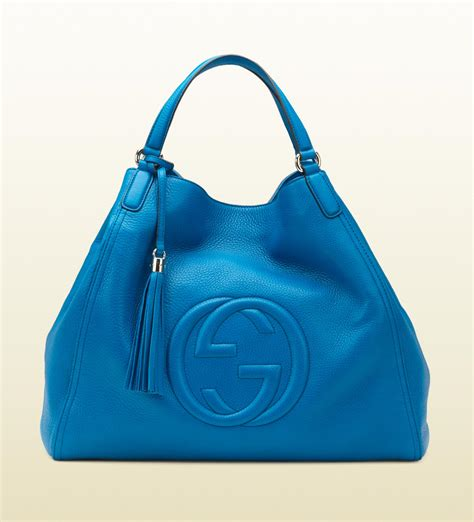 Gucci Ns Leather Blue lyst gucci soho riviera blue colour leather shoulder bag in blue