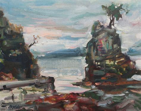 Bor Stanley siwash rock stanley park 11 x 14 on canvas board light appleby