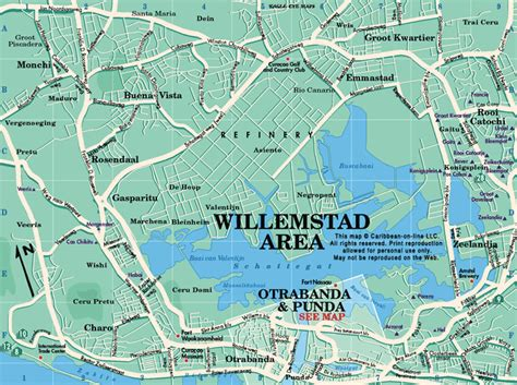 printable curacao road map willemstad area map curacao