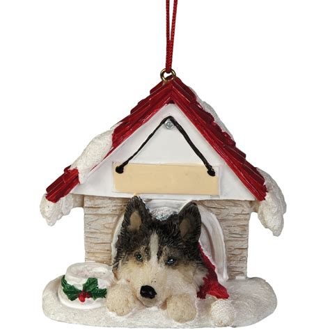 siberian husky in dog house christmas ornament ebay