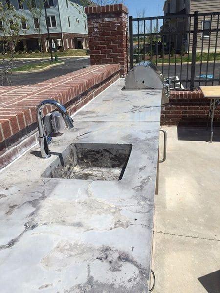 stone cast concrete outdoor bar top
