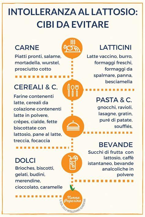 alimenti lattosio intolleranza al lattosio cibi da evitare infografica
