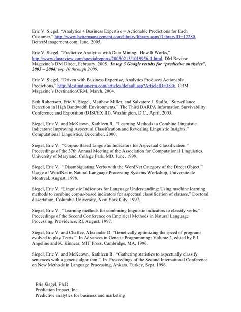 resume for work in predictive analytics