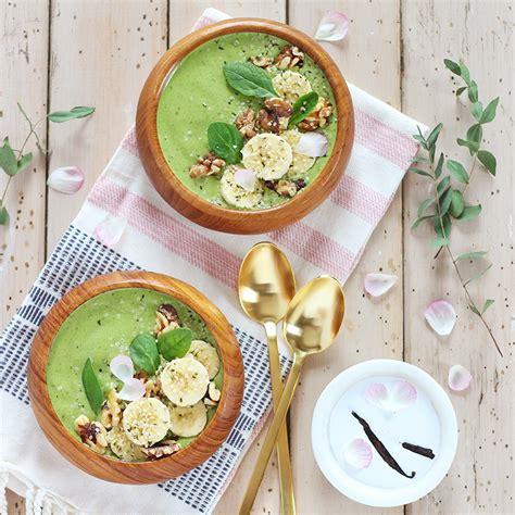 homemade flower food recipe justinecelina pantone inspired banana walnut green smoothie bowl