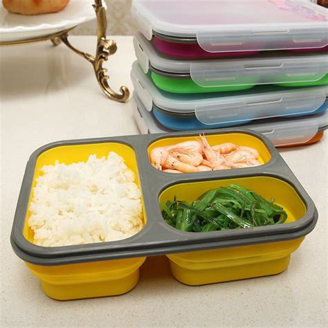 Bento Microwave 3 cells ecofriendly portable collapsible silicone bento lunch box with lock microwave safe bento