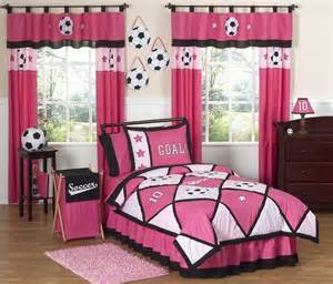Pink soccer bedding for girls twin or full queen comforter sets