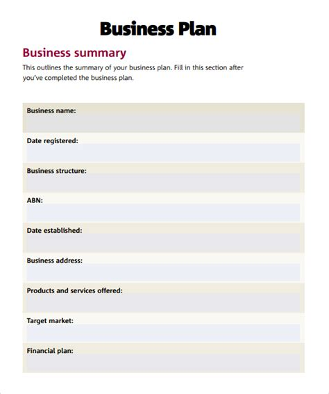 writing a business plan template free plan template