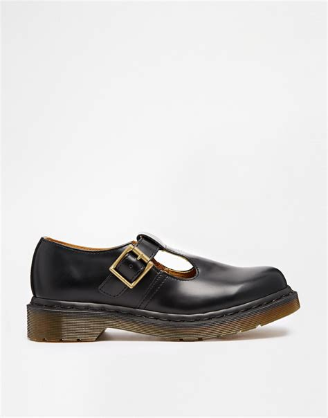t bar flat black shoes dr martens polley t bar flat shoes in black lyst