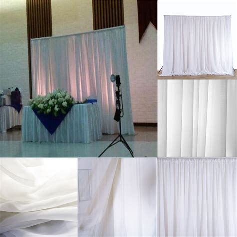 Hanging Curtains High Decor White Sheer Silk Drapes Panels Hanging Curtains Backdrop Home Wedding Decor At Banggood