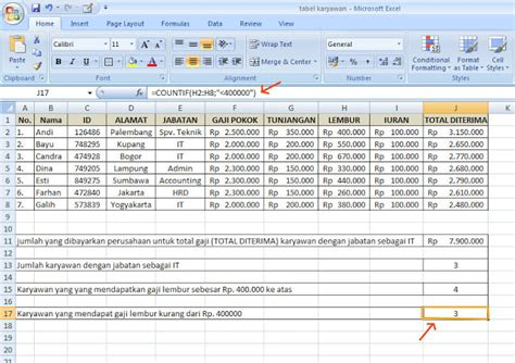 format absensi karyawan perusahaan rumus excel membuat rekapitulasi data dengan fungsi if