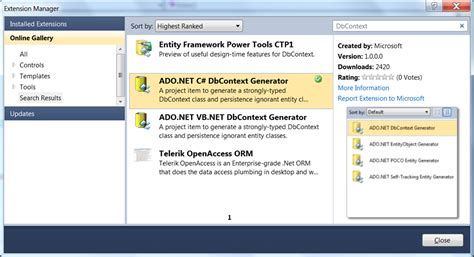 ado net dbcontext generator t4 templates download free