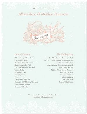 Traditional Wedding Program Templates by Printable Wedding Program Template