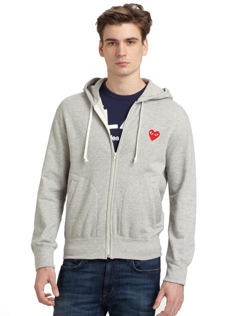 play comme des gar 231 ons zip up cotton hoodie in gray for men lyst