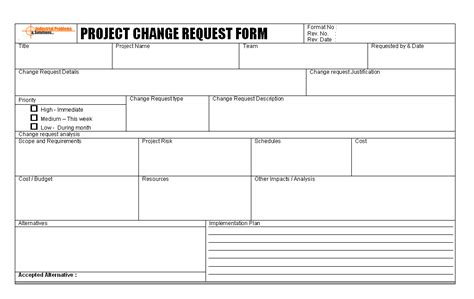 Change Request Template Pertamini Co Software Change Request Template Excel