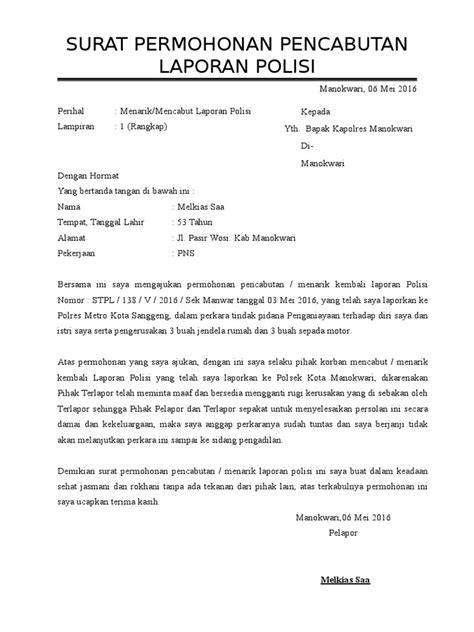 surat permohonan pencabutan laporan polisi