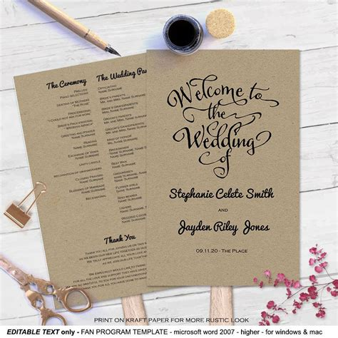 diy wedding program fans modern rustic diy wedding program fan template 2532918
