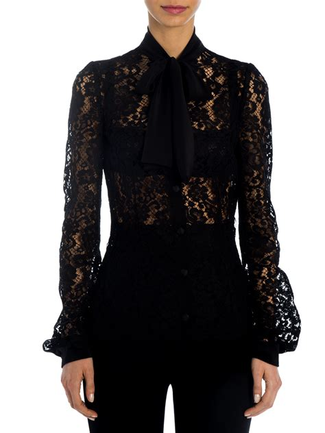 black lace blouse lyst dolce gabbana lace tie neck blouse in black