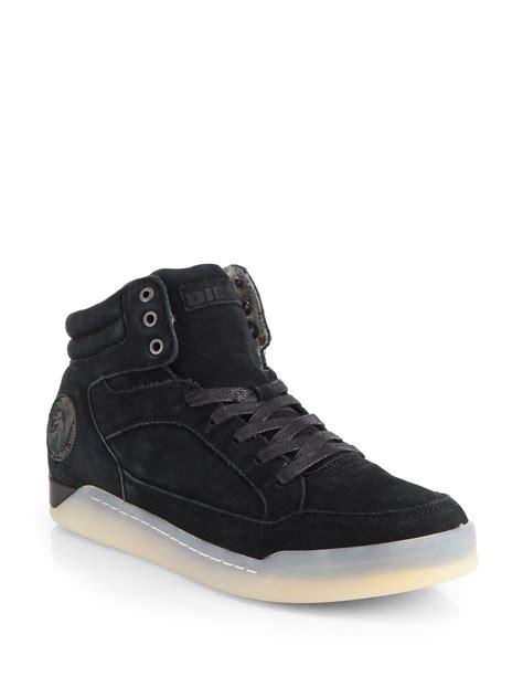 exclusive sneakers diesel exclusive suede high top sneakers in black for