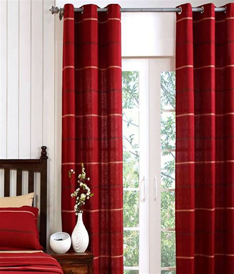 red long curtains maspar single long door eyelet curtain stripes red buy