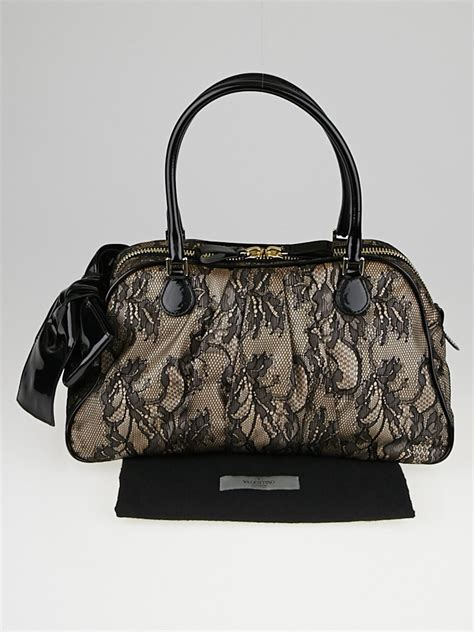 Valentino Patent Leather Lace Satchel by Valentino Black Lace Fused And Patent Leather Bow