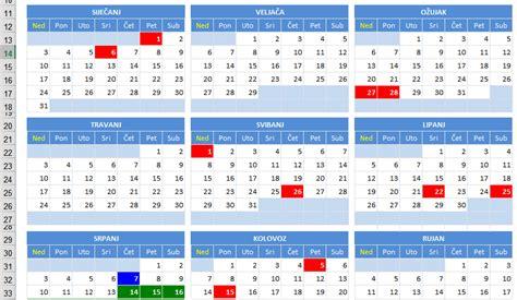 Kalendar S Blagdanima 2018 Kalendar 2016 S Državnim Praznicima Blagdanima I Neradnim