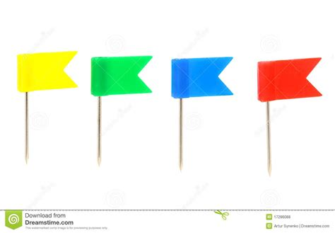 four color flags push pin stock photo image 17286088