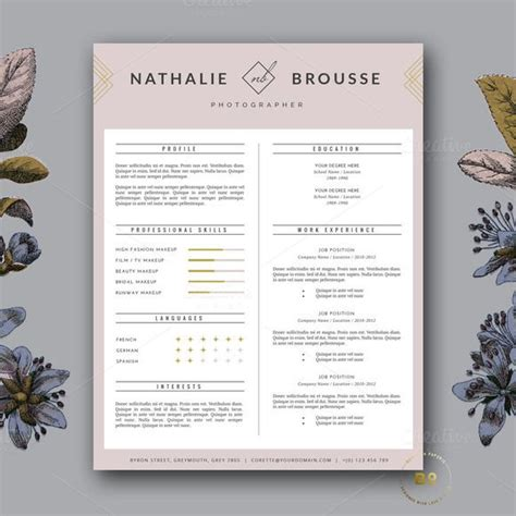 Modèle Mise En Page Cv by Feminine Resume Template For Ms Word By Botanica Paperie