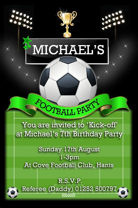 football birthday card template 10 personalised football birthday invitations n108