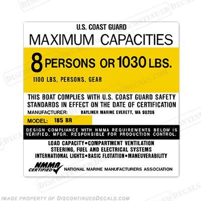 bayliner 185 br capacity decal 8 person