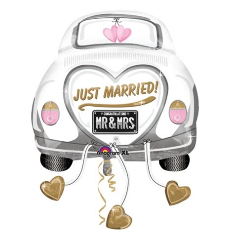 Just Married Auto Grafik 5 x just married wedding car supershape foil balloon xl