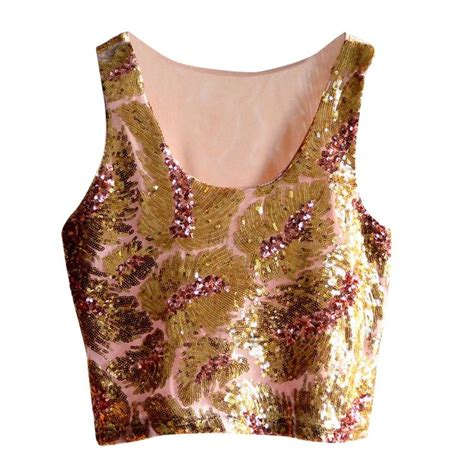Blouse Squin Top womens summer tank tops vest glitter sequin blouse sleeveless crop tops t shirt ebay