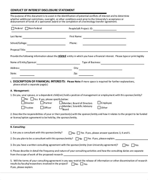 conflict of interest disclosure form template 9 sle statement of interest free sle exle