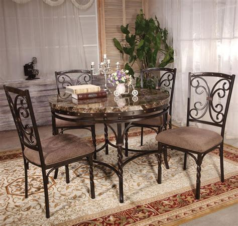 acme furniture burril 5 dining set with faux marble
