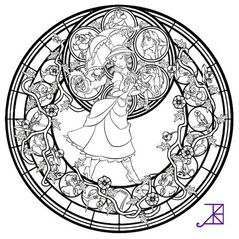 beauty and the beast stained glass coloring pages beauty and the beast stained glass coloring page az