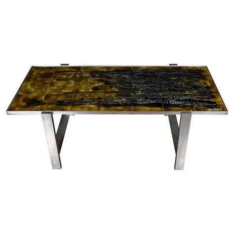 Aluminium Coffee Table Mid Century Modern Ceramic Tile And Polished Aluminium Coffee Table By J Belarti For Sale At 1stdibs